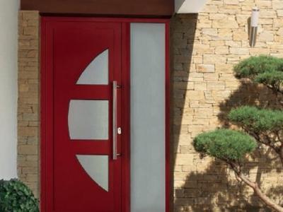 Porte d'entrée ALU rouge